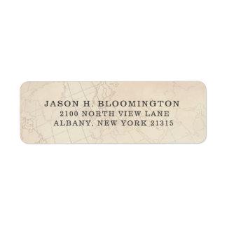 Vintage Opaque Geography Map | Return Address Return Address Label