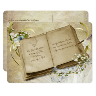 Vintage Open Book Vow Renewal Invite