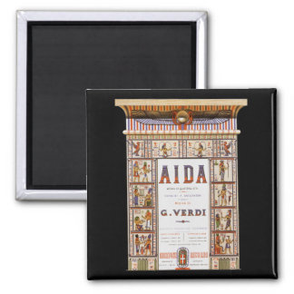 Vintage Opera Music, Egyptian Aida by Verdi Square Magnet