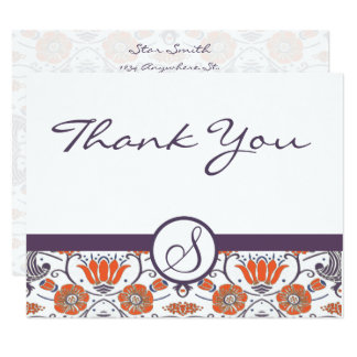 Vintage Orange and Purple Swirly Floral Thank You Card