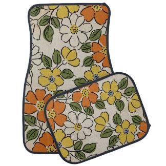 Vintage Orange and Yellow Floral Wedding Car Carpet