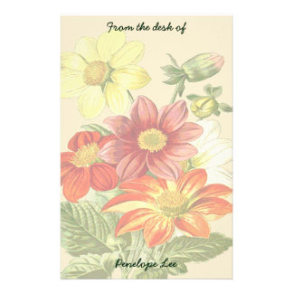 Vintage Orange and Yellow Garden Flowers Your Name Stationery