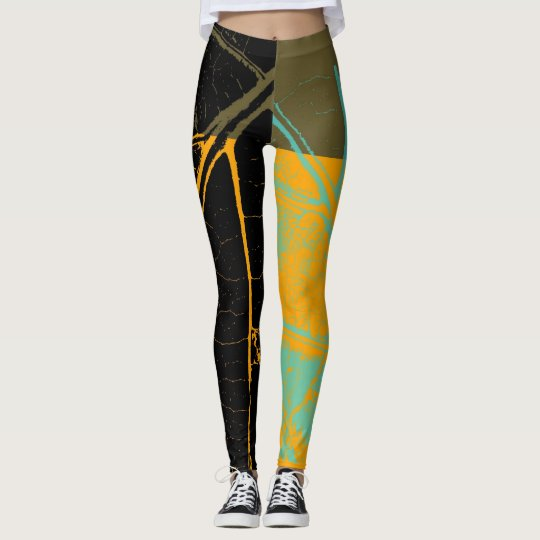 Vintage Orange Black Leaf Leggings