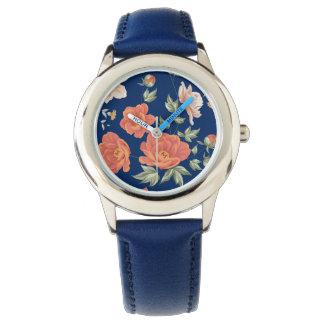 Vintage orange blue spring floral pattern watches