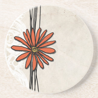 Vintage Orange Daisy Coaster