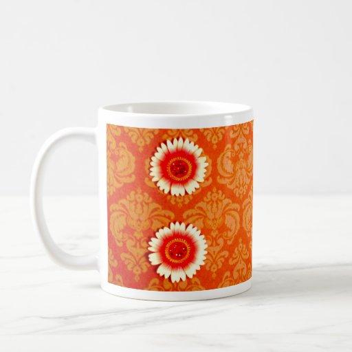 Vintage Orange Damask and Pink Daisies Mug