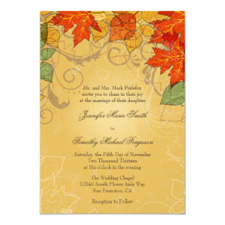Vintage orange gold fall leaves wedding invite