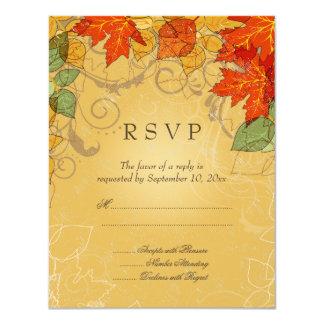 Vintage orange gold fall leaves wedding RSVP card