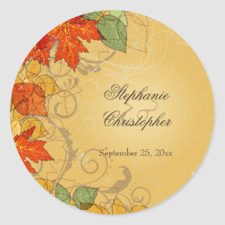 Vintage orange gold fall leaves wedding stickers