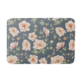 Vintage orange grey spring floral pattern painted bathroom mat
