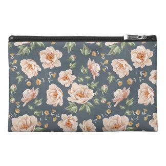 Vintage orange grey spring floral pattern painted travel accessories bags