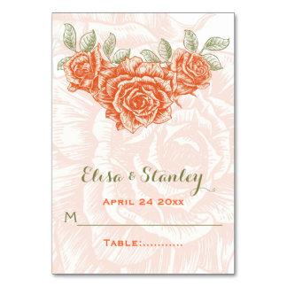 Vintage orange roses wedding folded escort card table cards