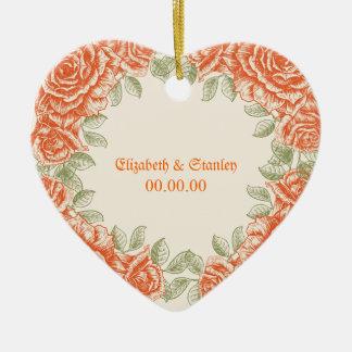 Vintage orange roses Wedding Save the Date Ceramic Heart Ornament