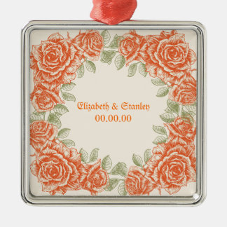 Vintage orange roses Wedding Save the Date Silver-Colored Square Ornament