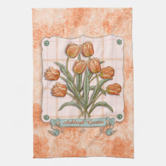 Vintage Orange Tulips Peach Pink Plaid Nice Ribbon Kitchen Towel