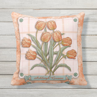Vintage Orange Tulips Peach Pink Plaid Nice Ribbon Outdoor Pillow