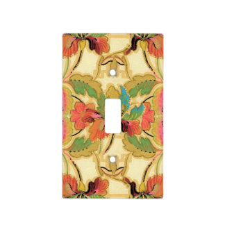 Vintage Orange Turquoise Floral Wallpaper Pattern Light Switch Cover