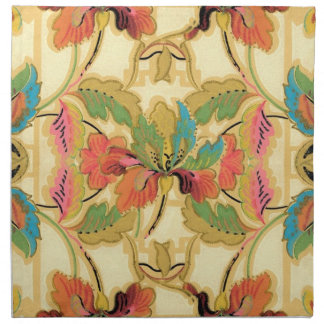 Vintage Orange Turquoise Floral Wallpaper Pattern Napkin
