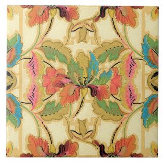 Vintage Orange Turquoise Floral Wallpaper Pattern Tile