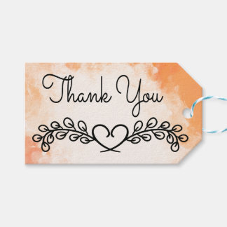 Vintage Orange Watercolor Thank You Floral Heart Gift Tags