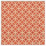Vintage orange yellow quatrefoil trellis pattern fabric