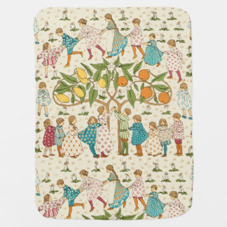 Vintage Oranges & Lemons Nursery Rhyme Pattern Baby Blanket