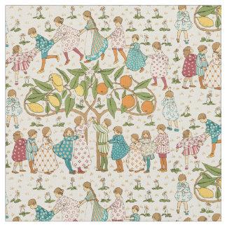 Vintage Oranges & Lemons Nursery Rhyme Pattern Fabric