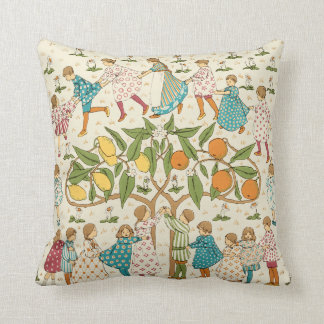 Vintage Oranges & Lemons Nursery Rhyme Pattern Throw Pillow