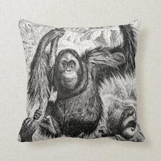 Vintage Orangutan Illustration -1800's Monkey Throw Pillow