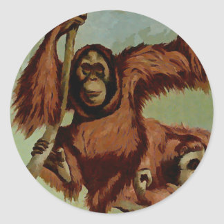 Vintage orangutans on a tree classic round sticker