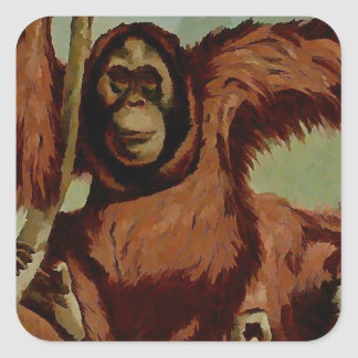Vintage orangutans on a tree square sticker
