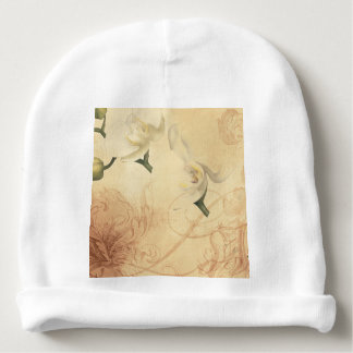 Vintage Orchid Background Baby Beanie