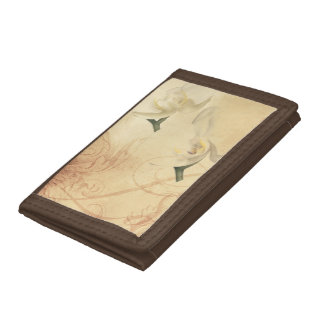 Vintage Orchid Background Trifold Wallet