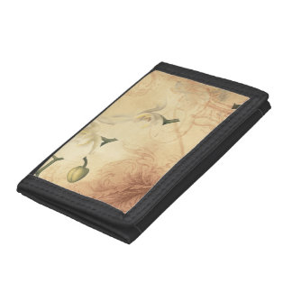Vintage Orchid Background Trifold Wallets
