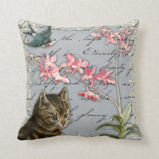 Vintage Orchid Collage Pillow
