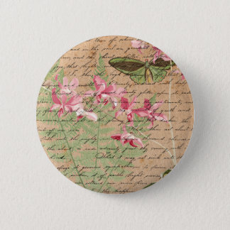 Vintage Orchid Fern Collage 2 Inch Round Button