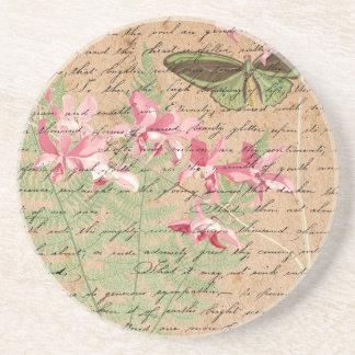 Vintage Orchid Fern Collage Coaster