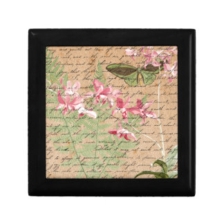 Vintage Orchid Fern Collage Gift Box