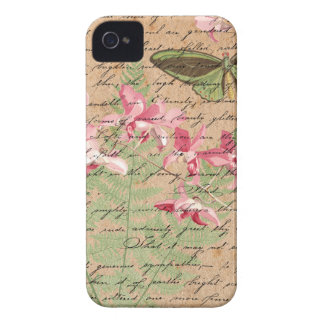 Vintage Orchid Fern Collage iPhone 4 Case