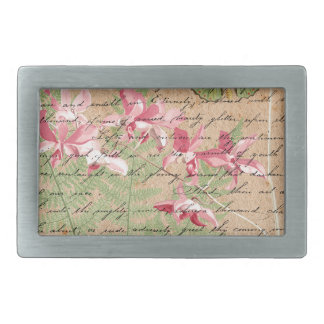 Vintage Orchid Fern Collage Rectangular Belt Buckles