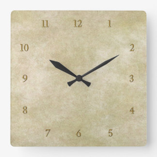 Vintage Oriental Bamboo 1 Square Wall Clock