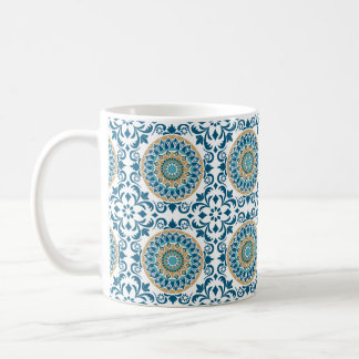 Vintage Oriental Decorative Blue, Brown & White Coffee Mug