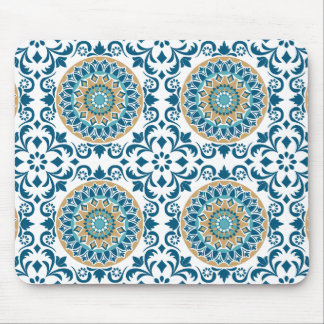 Vintage Oriental Decorative Blue, Brown & White Mouse Pad