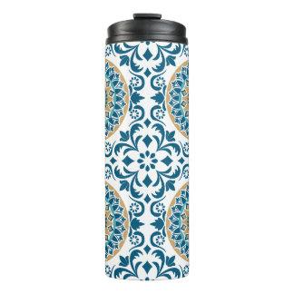 Vintage Oriental Decorative Blue, Brown & White Thermal Tumbler