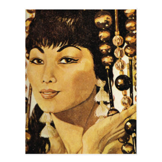 Vintage oriental lady postcard