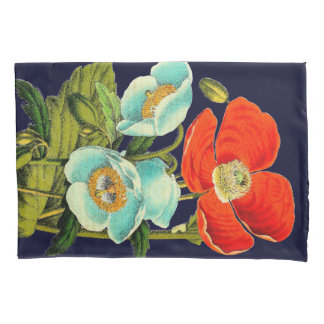 Vintage Oriental Poppy Flower Floral Pillowcase
