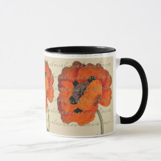 Vintage Oriental Poppy Flower Love Mug