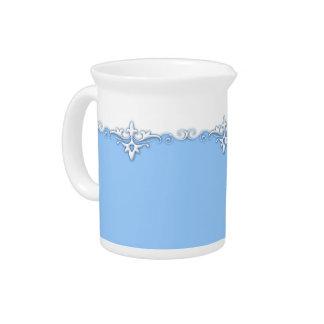 Vintage ornament border light blue pitcher