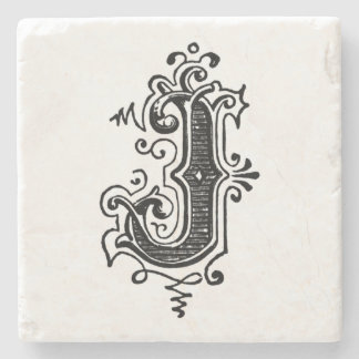 Vintage Ornamental Monogram 'J' Stone Coaster