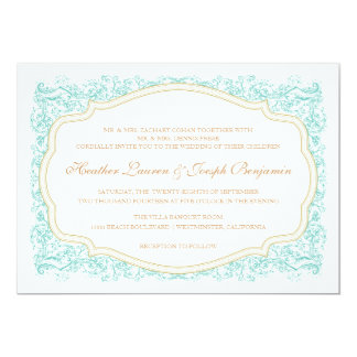 Vintage Ornate Blue & Gold Wedding Invitation